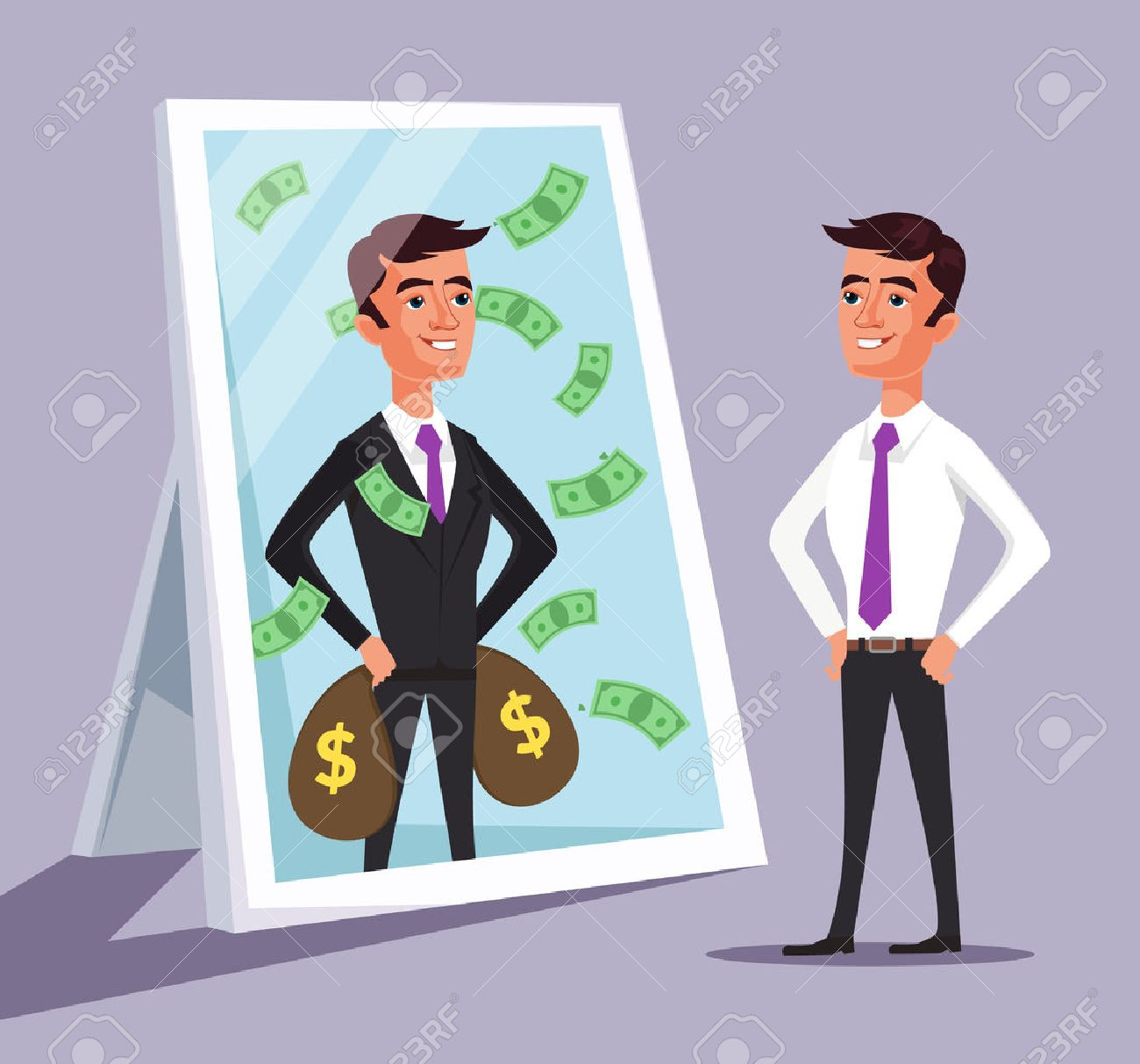 Business man see himself being successful. Vector flat cartoon illustration - 56254861