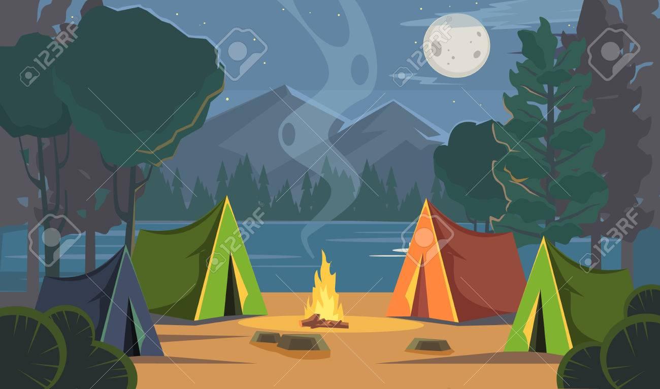 Vector flat cartoon camping illustration - 56625643