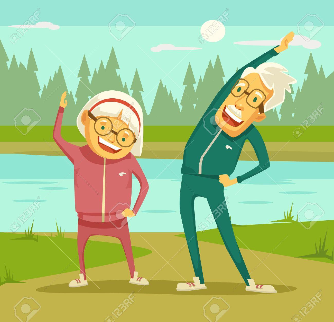 Elderly people doing exercises. Vector flat cartoon illustration - 56625799