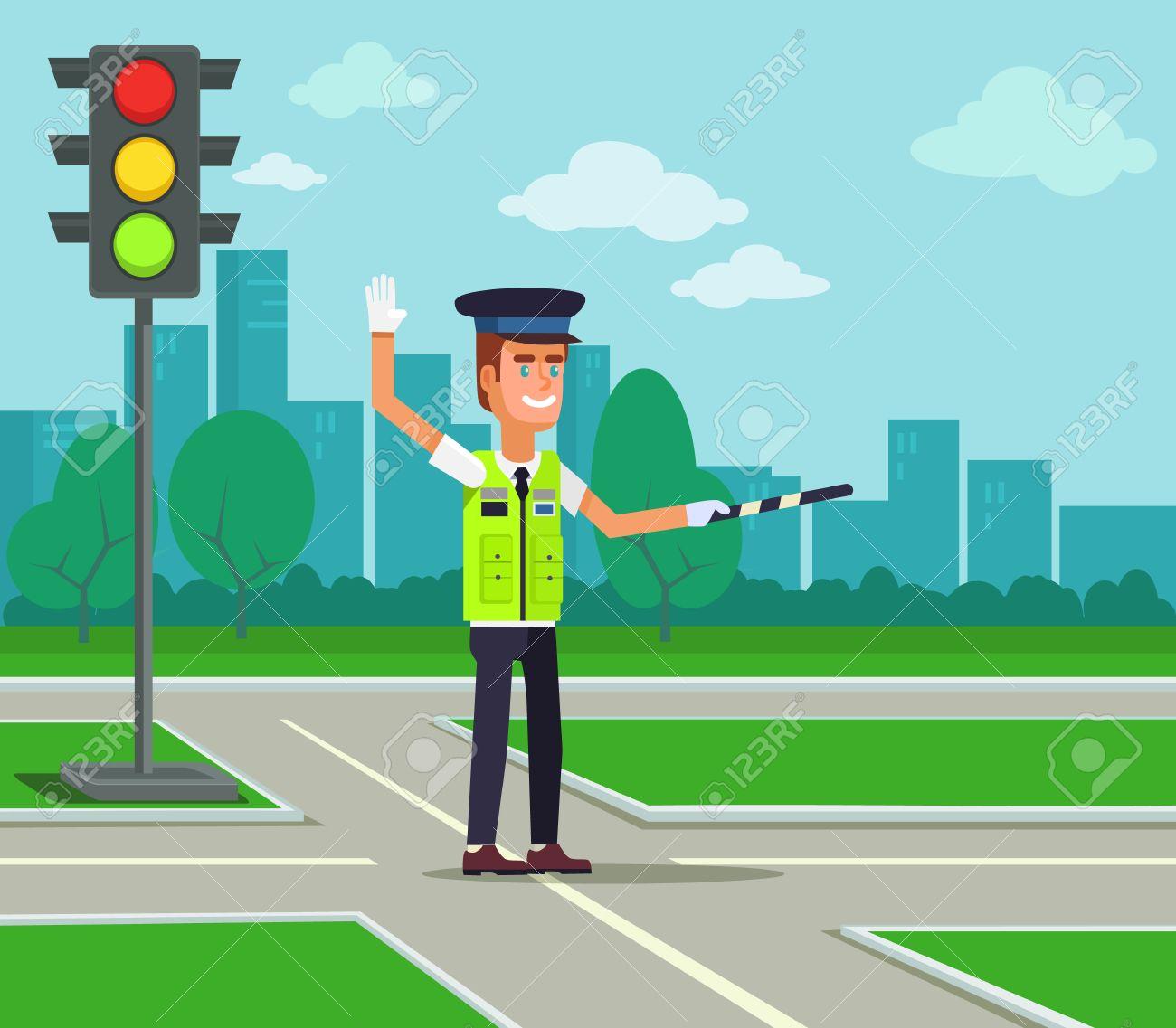 Traffic policeman. Vector flat cartoon illustration - 56626032