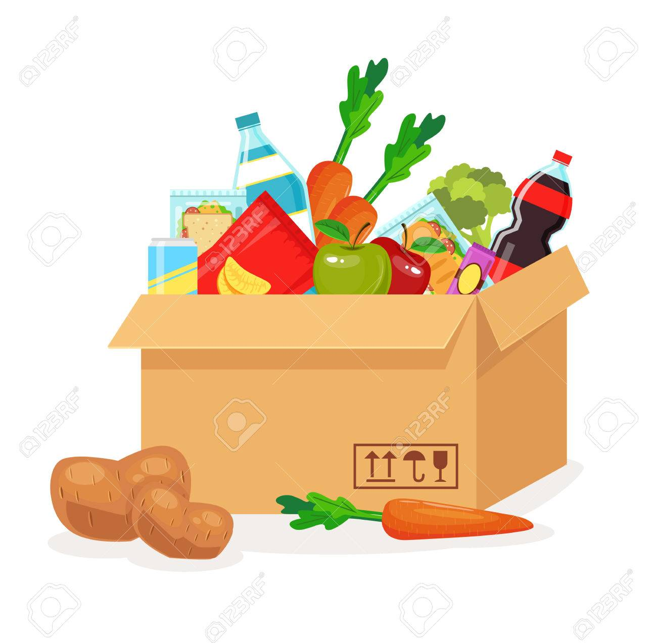 Food in box. Food delivery. Vector flat cartoon illustration - 56975106