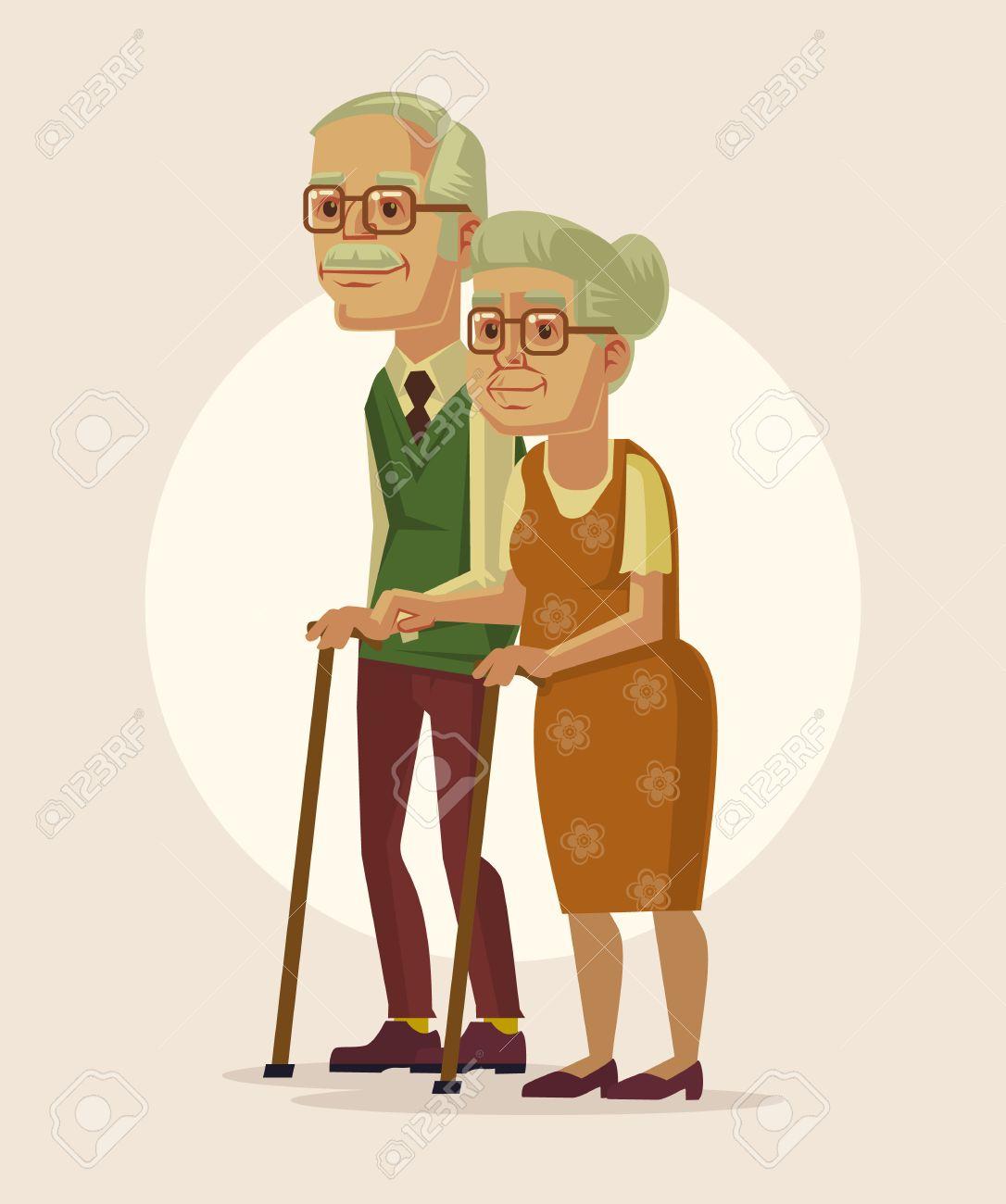 祖父母の幸せなカップル。ベクトル フラット漫画イラスト ロイヤリティ