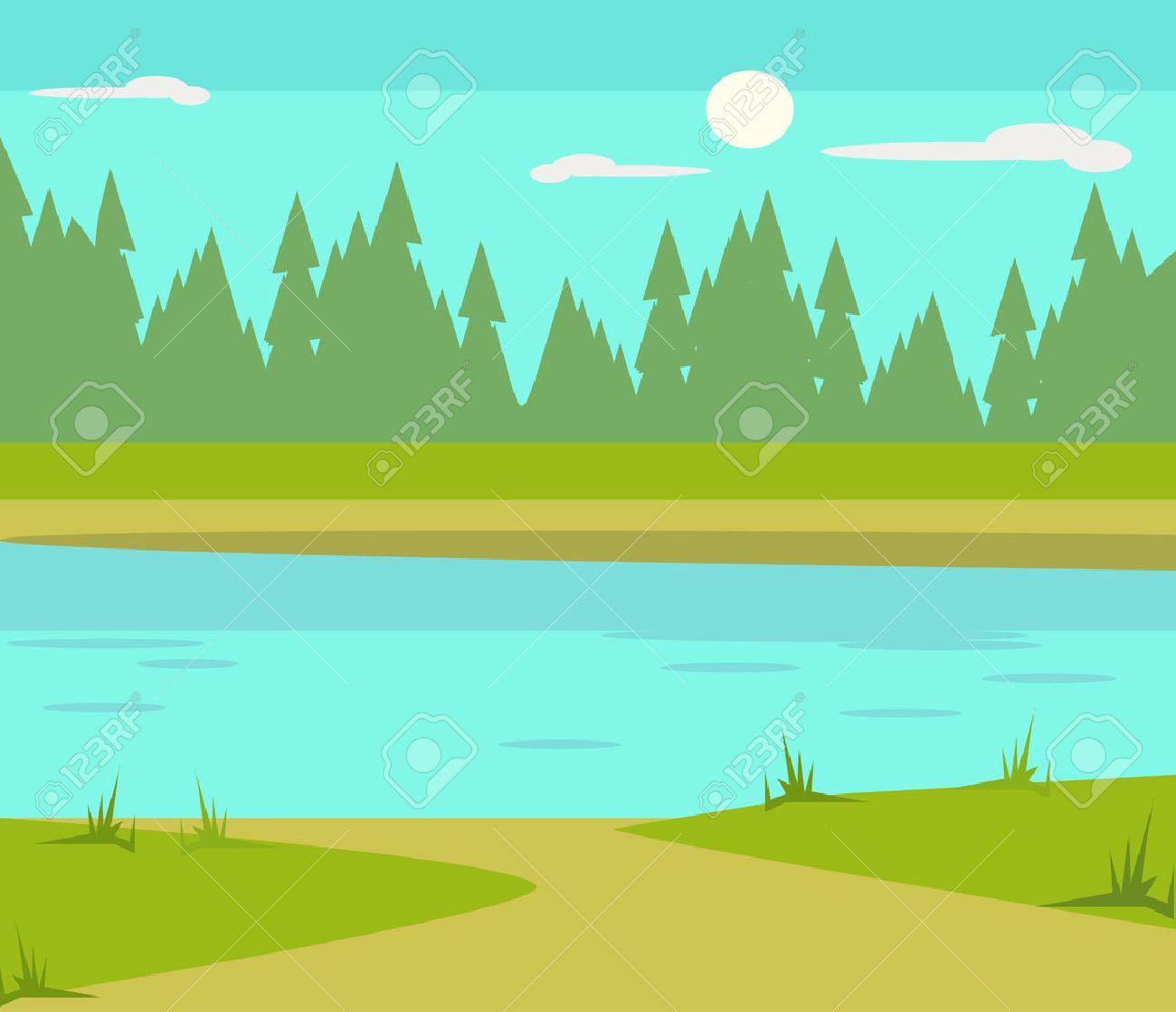Lake flat cartoon illustration - 56975120