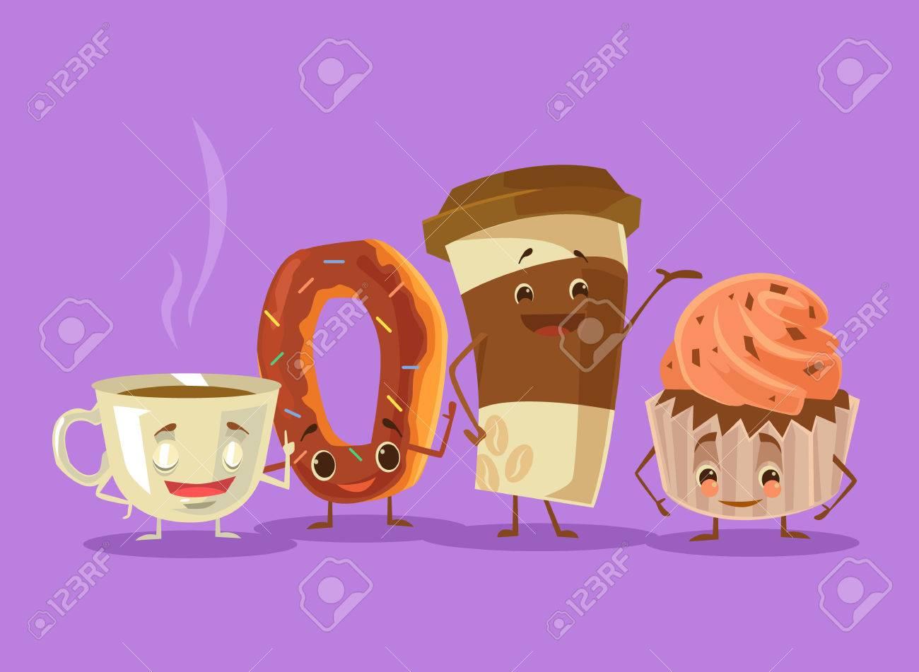 Té Café Mejores Amigos Pastas De Rosquilla Vector Ilustración De