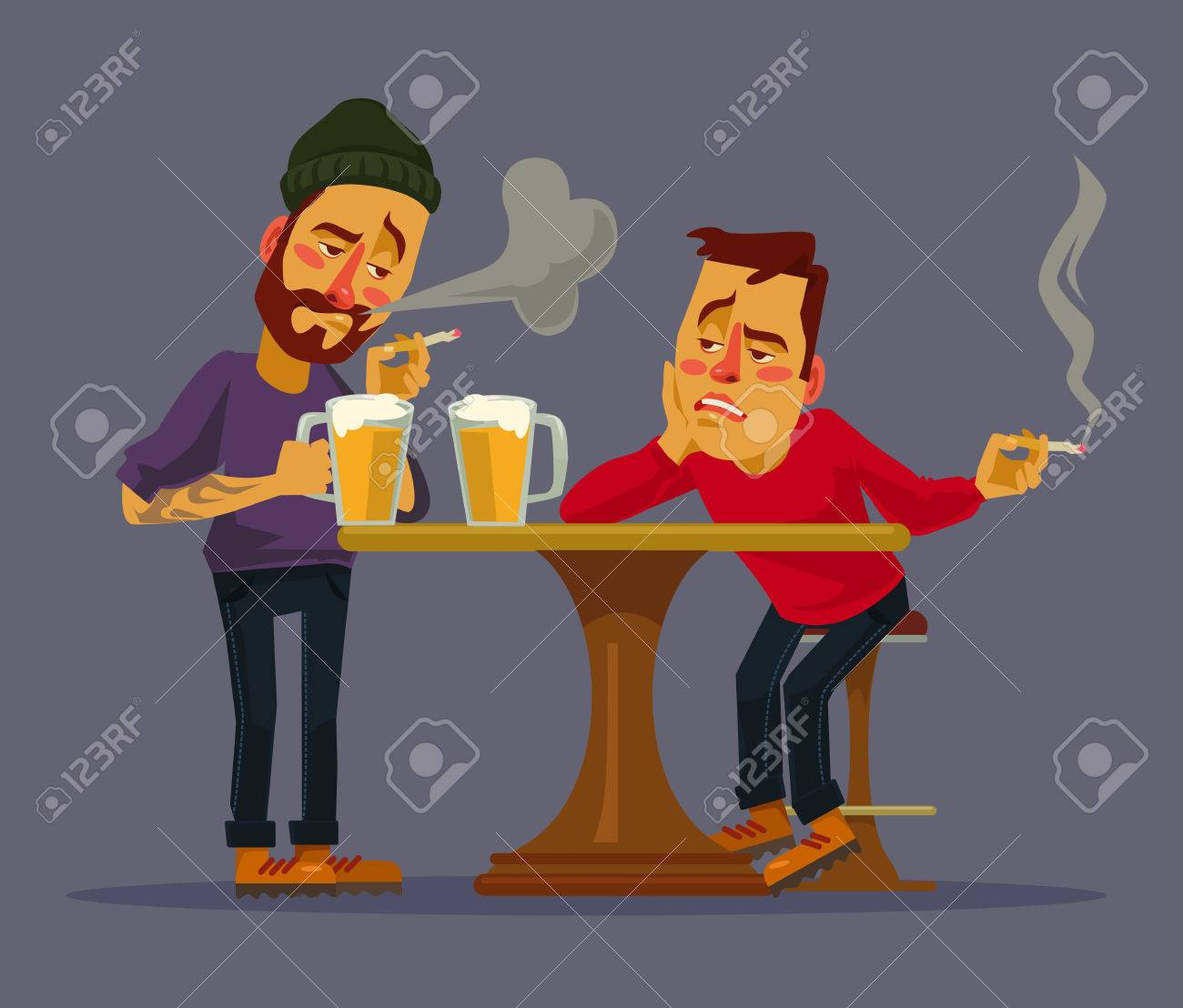 Two drunk friends discus problems. Vector flat cartoon illustration - 57533377