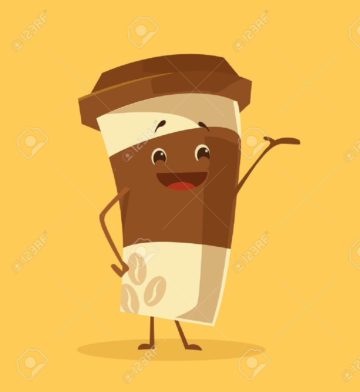 Cartoon coffee cup. Take away coffee. Happy cup of coffee. Vector flat cartoon illustration - 57777596