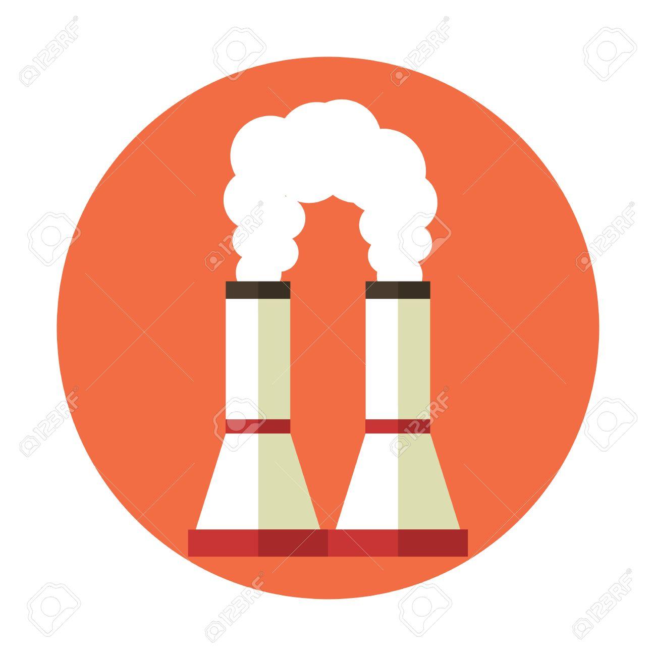 大気汚染工場の煙突地球温暖化ベクトル フラット漫画アイコン