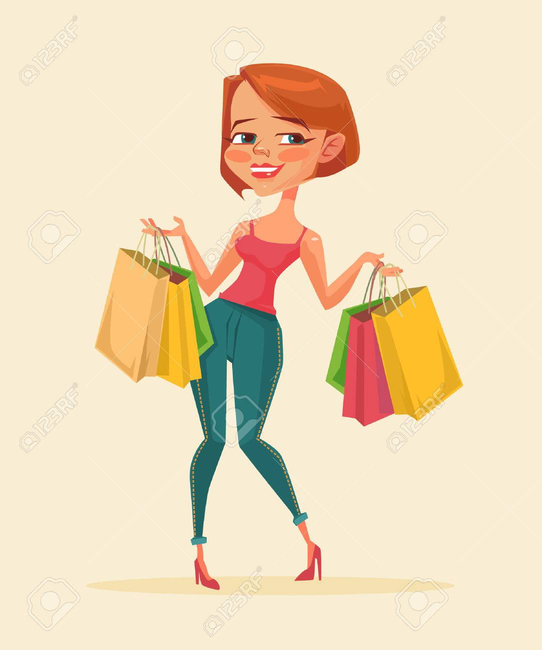 Silueta DE Mujer Con Bolsas DE Compras En LA Mano Vector