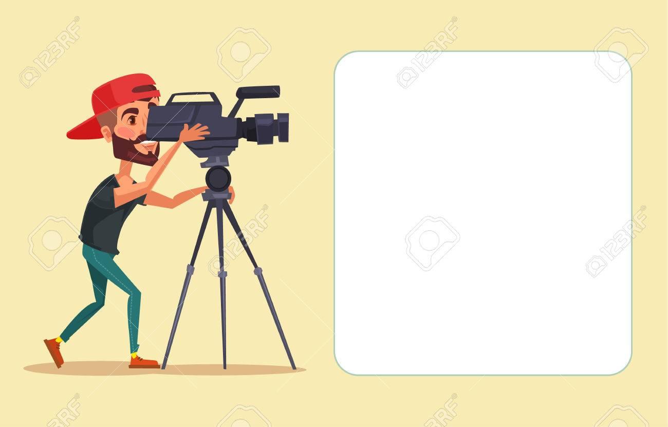 Cameraman with movie camera. Vector flat cartoon illustration - 58558710