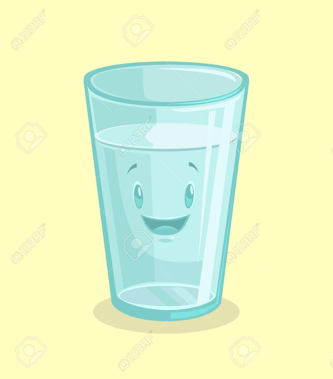 Full glass of water. Vector flat cartoon illustration - 59015891