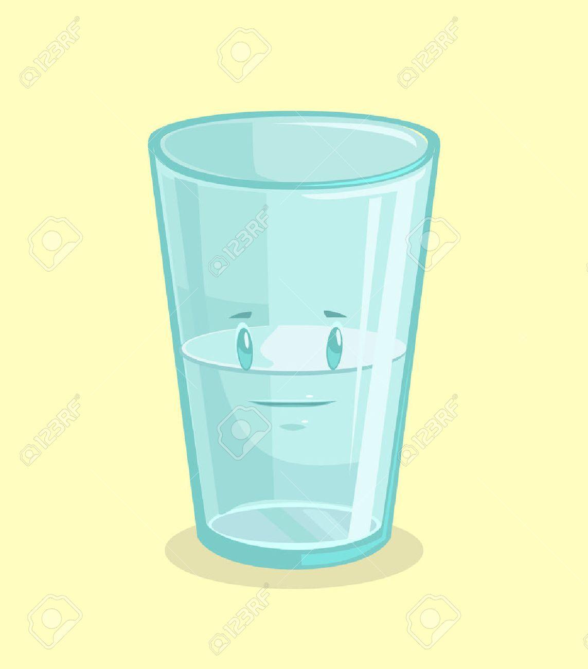Half full glass of water. Vector flat cartoon illustration - 59015895