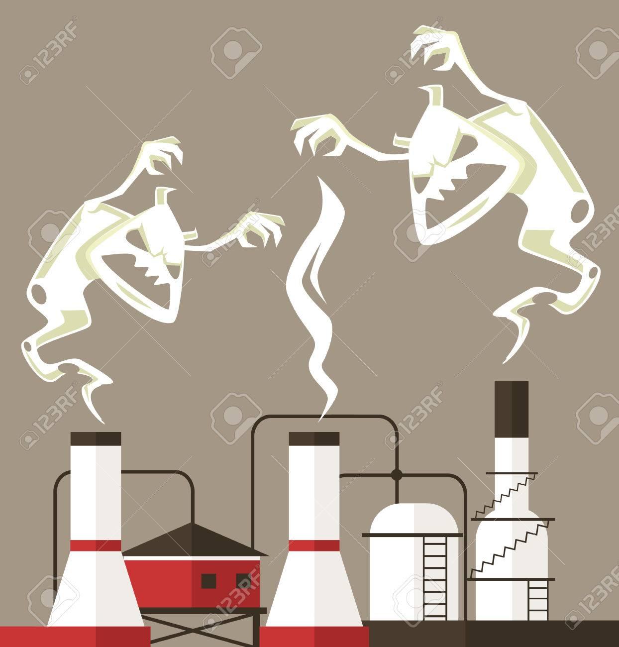大気汚染煙のモンスターベクトル フラット漫画イラストのイラスト