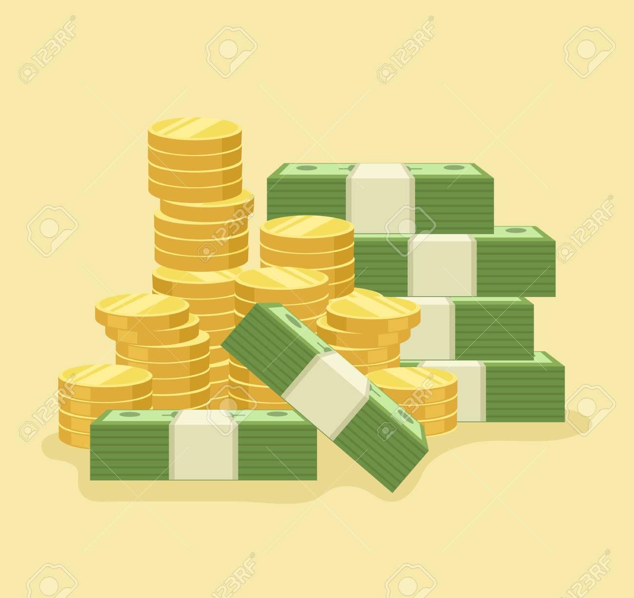 Lot of money. Vector flat cartoon icon illustration - 59433230