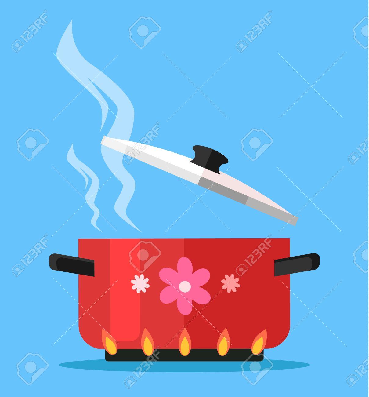 Boiling water in pan. Vector flat cartoon illustration - 59706837