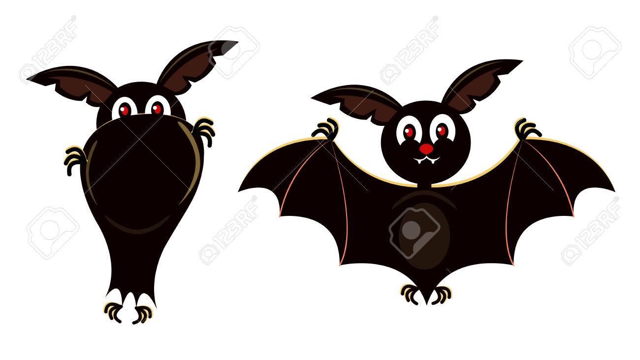 かわいいコウモリの飛んでいる文字ベクトル フラット漫画イラストの