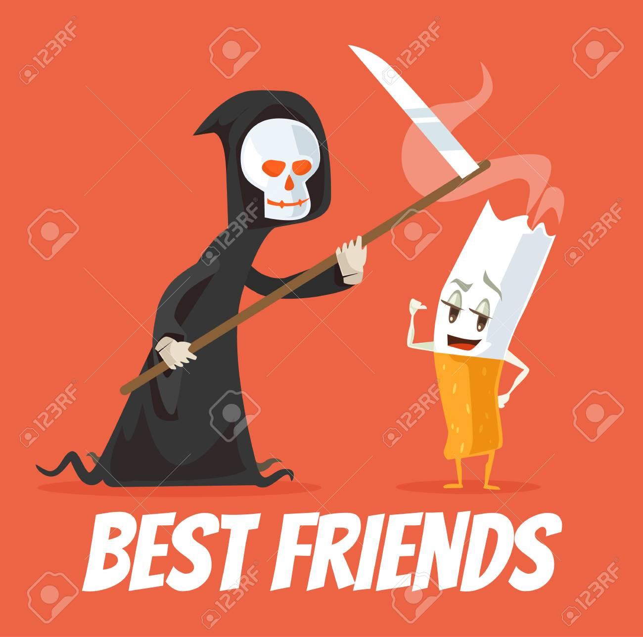 Los Mejores Amigos De Muerte Y Personajes De Cigarrillos Vector
