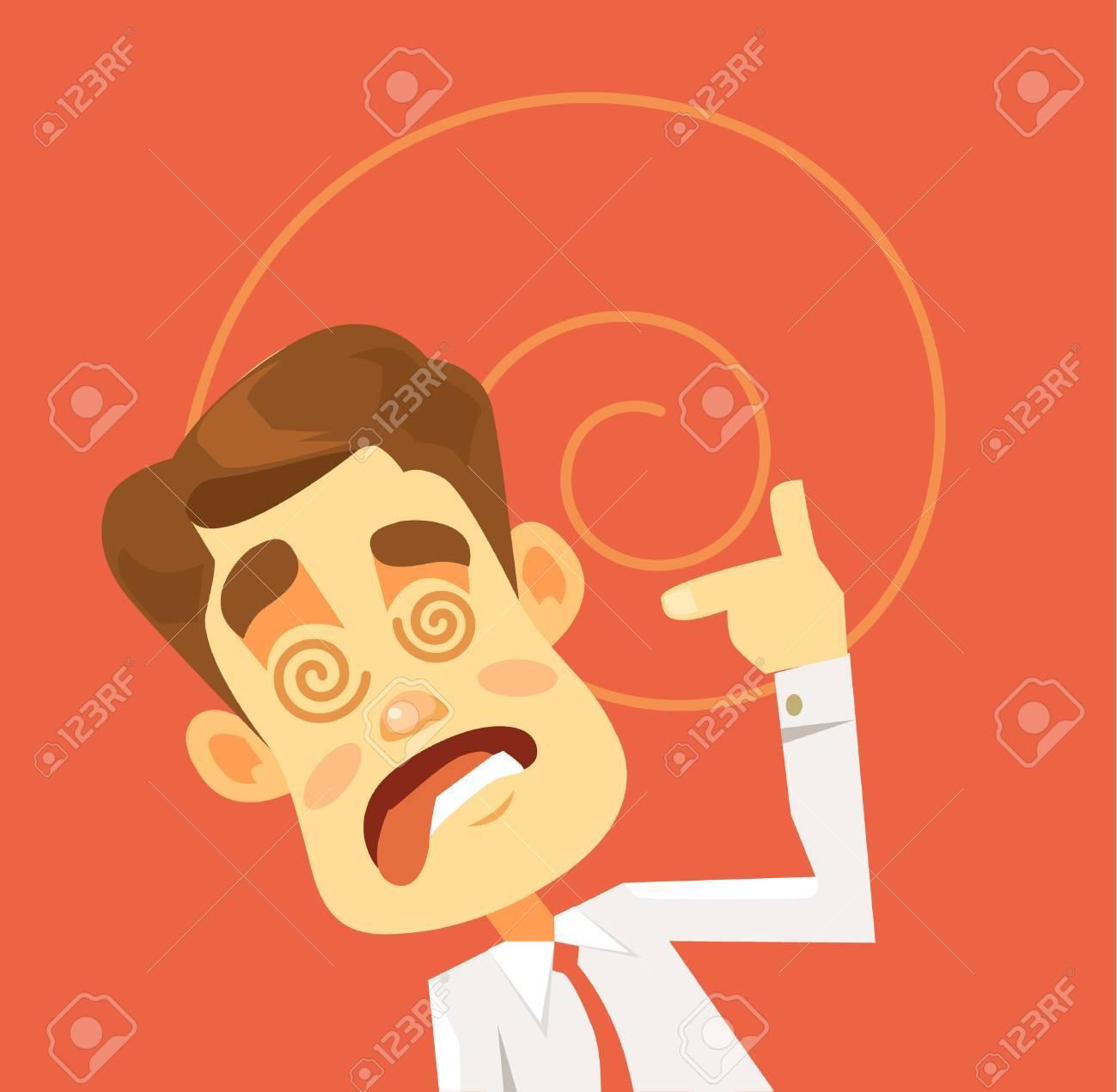 Crazy man character. Hard work. Vector flat cartoon illustration - 60890126