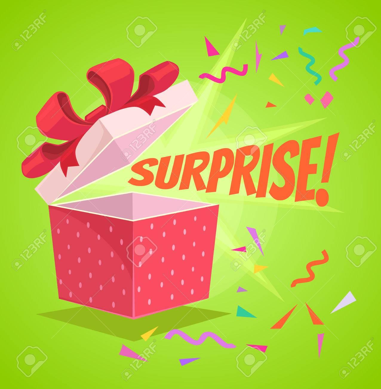 Open surprise text gift box. Vector flat cartoon illustration - 62227225
