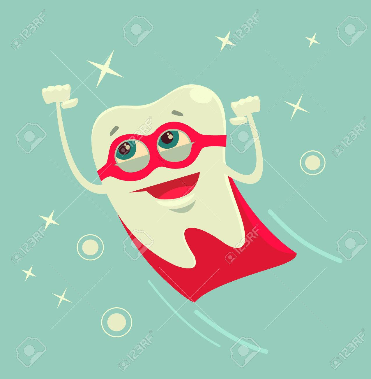 Superhero tooth character. Vector flat cartoon illustration - 62227228
