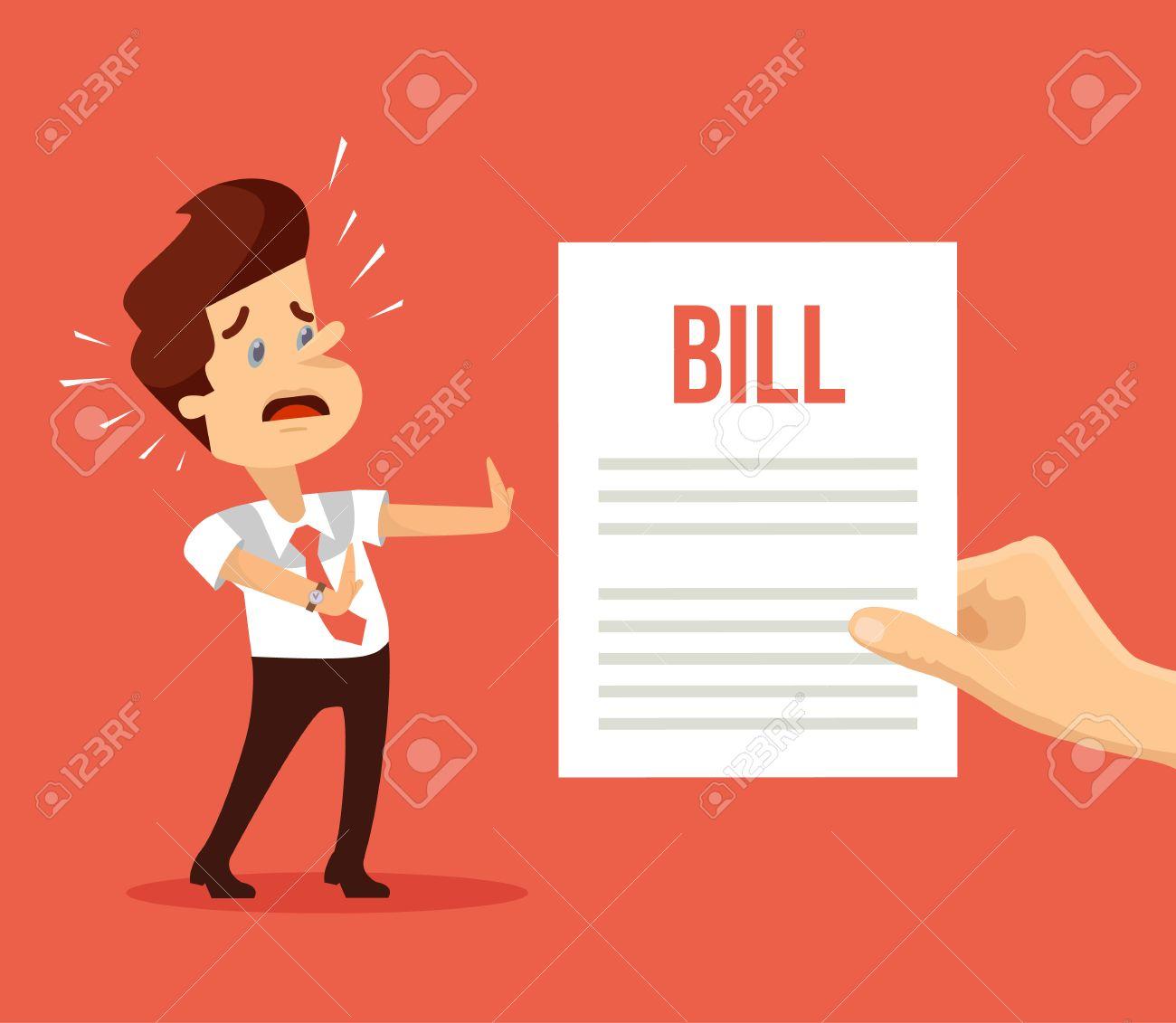 Shocked man character received bill. Vector flat cartoon illustration - 62459773