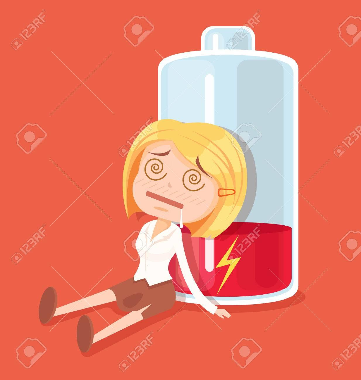Business woman character no energy. Vector flat cartoon illustration - 62459643