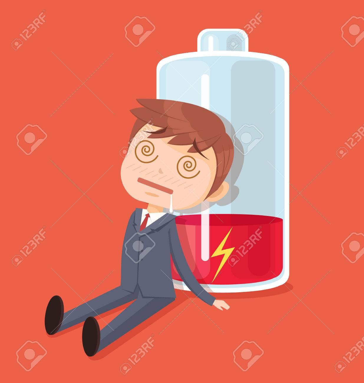 Businessman character no energy. Vector flat cartoon illustration - 62459646