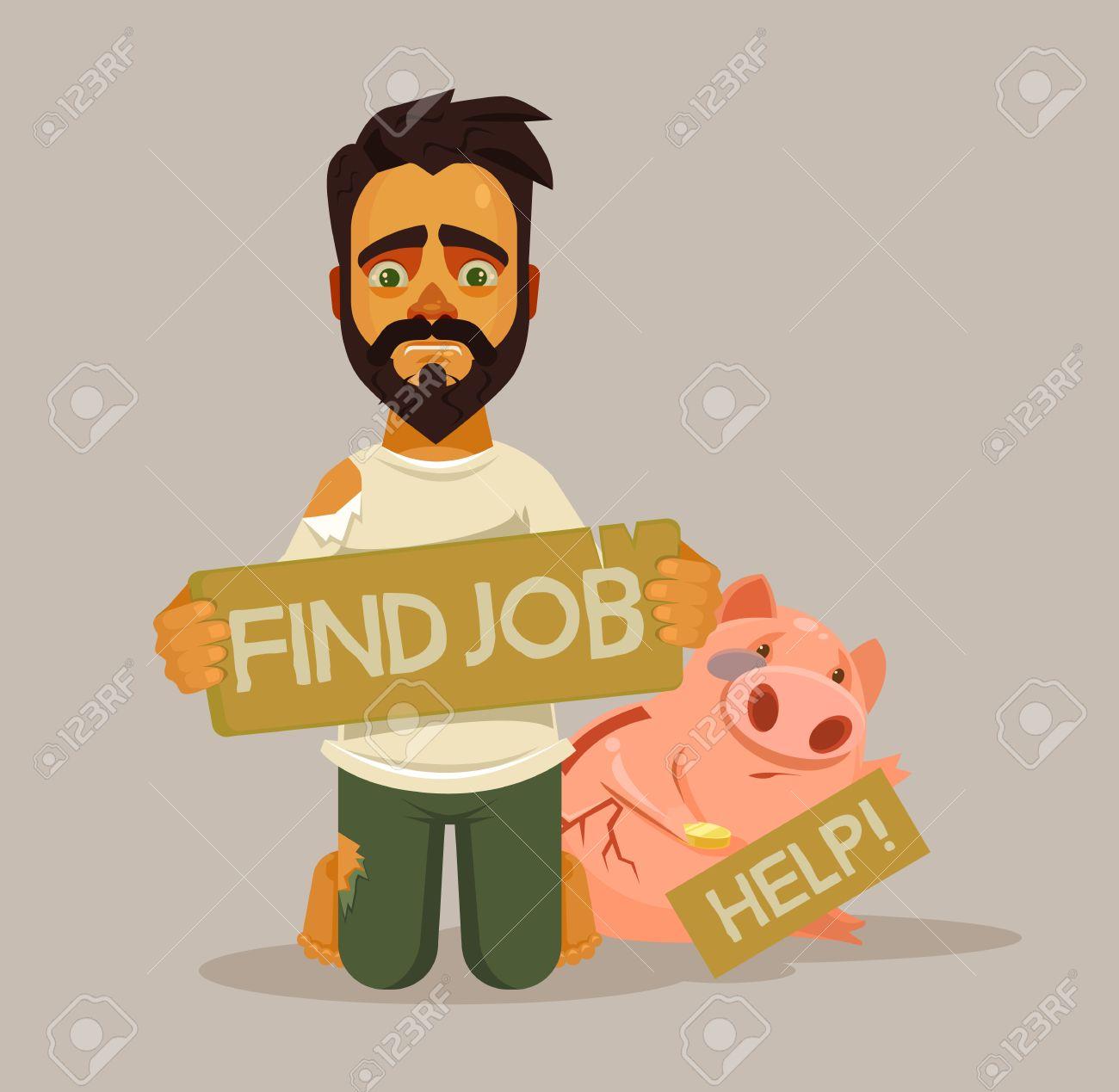 Unemployed homeless man character need job vector flat cartoon