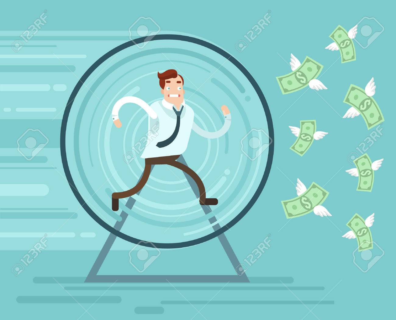 Businessman character runs trying catch money. Vector flat cartoon illustration - 63428246