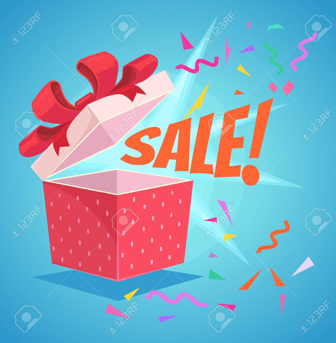 Open sale gift box with red bow and sale word. Discount banner. Vector flat cartoon illustration - 64259781
