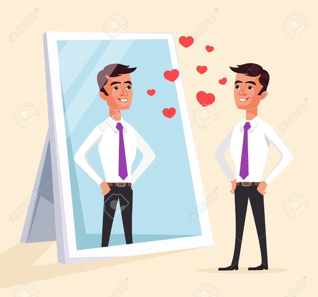 Narcissistic man character looks at mirror. Vector flat cartoon illustration - 64259792