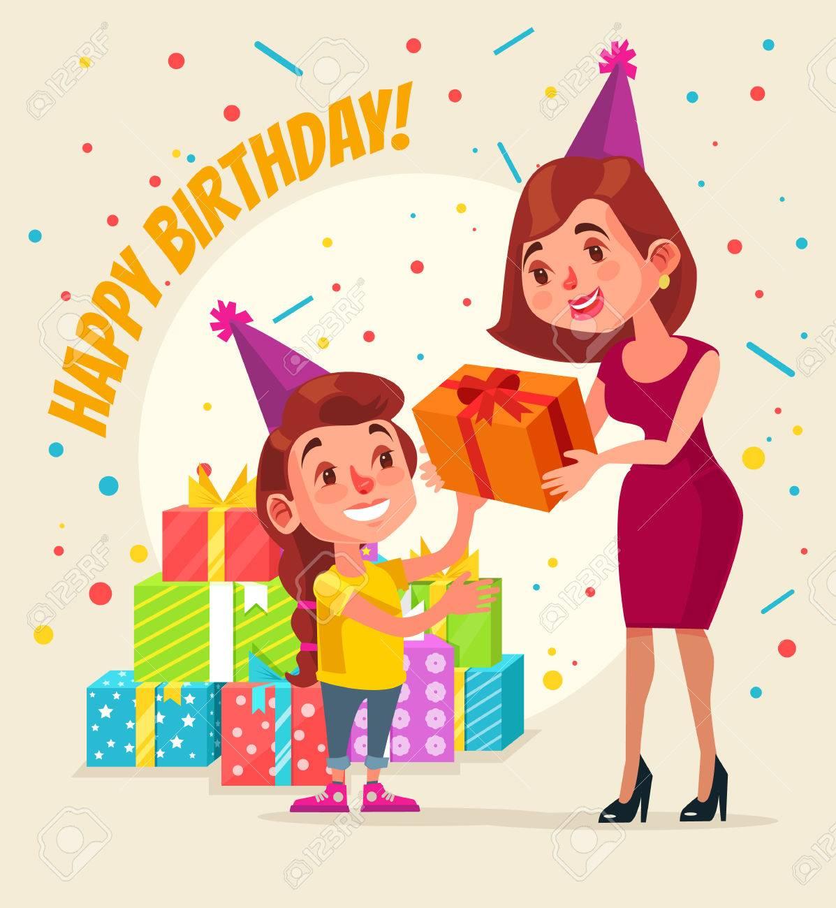 Little Girl Character Birthday Mom Give Gift Box Happy Vector Flat