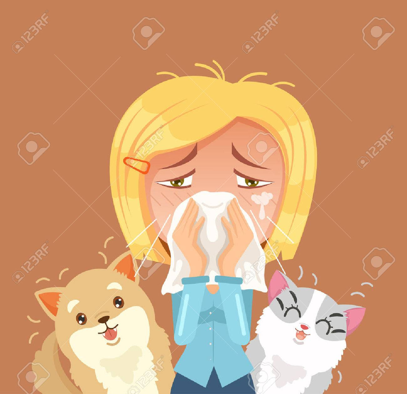 Allergic to domestic animals. Woman character sneeze. Vector flat cartoon illustration - 66662553