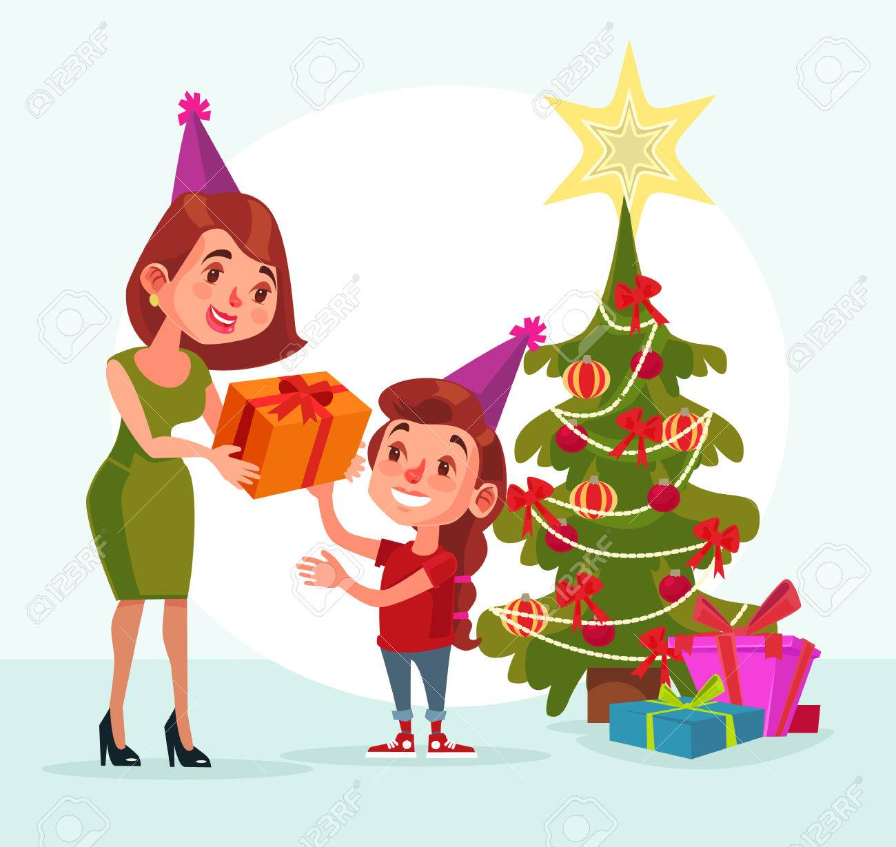 happy family mom gives gift box daughter happy new year marry christmas