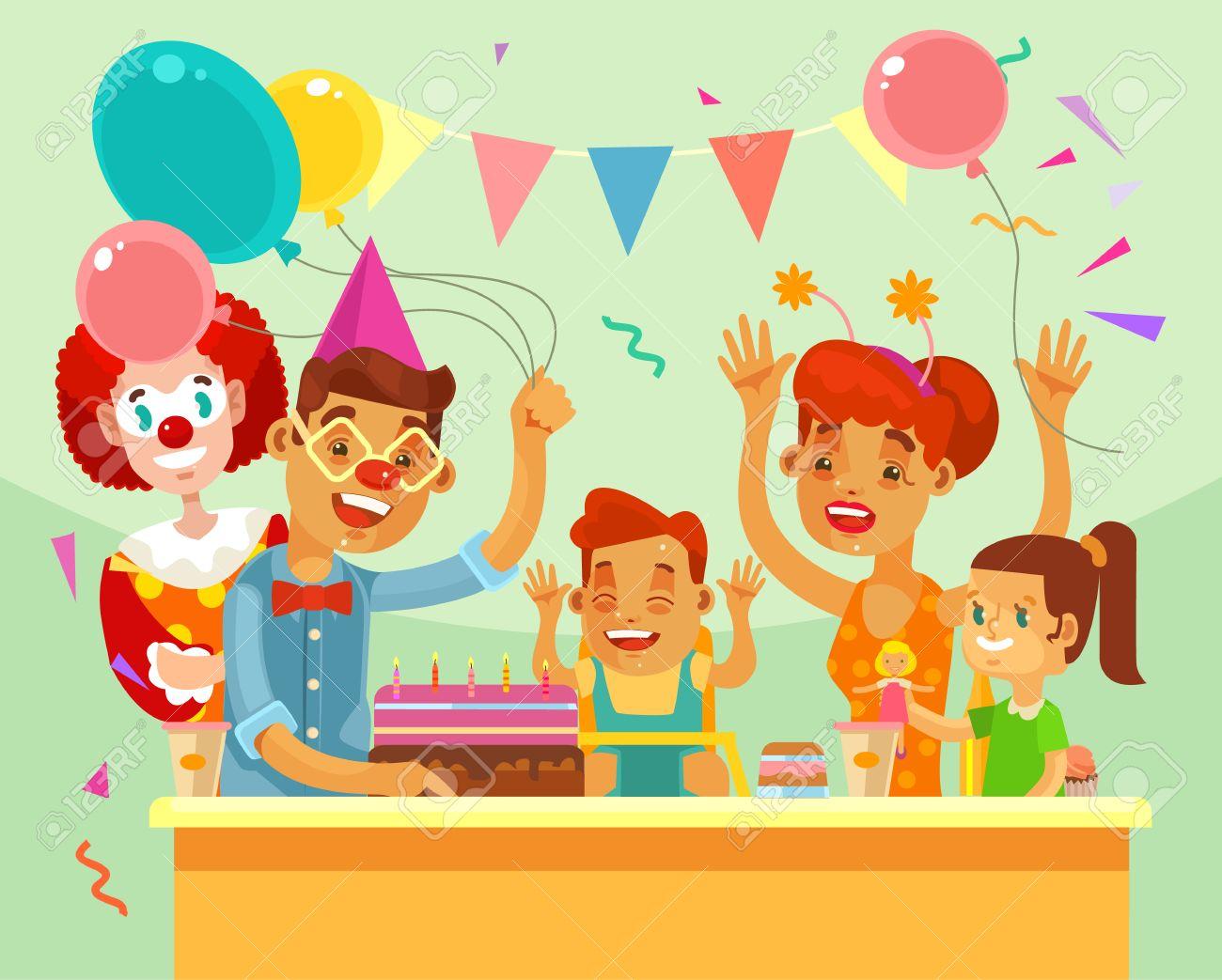 Los Ninos Feliz Cumpleanos Fiesta Familiar Ilustracion De Dibujos