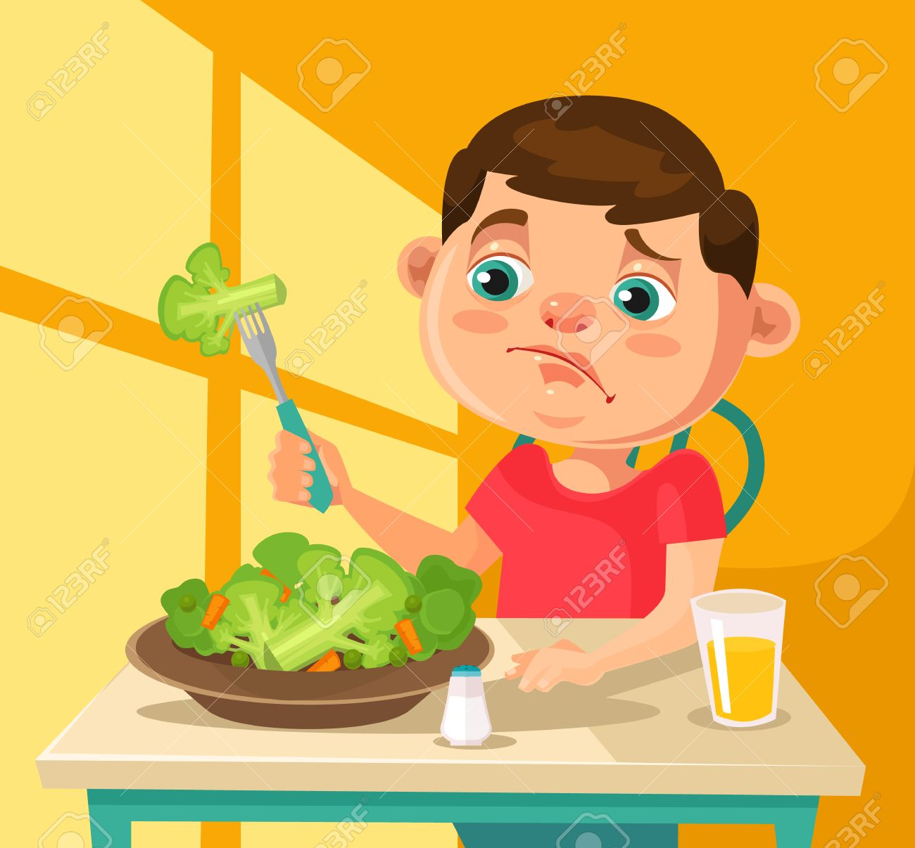 Child Character Does Not Want To Eat Broccoli Flat Cartoon
