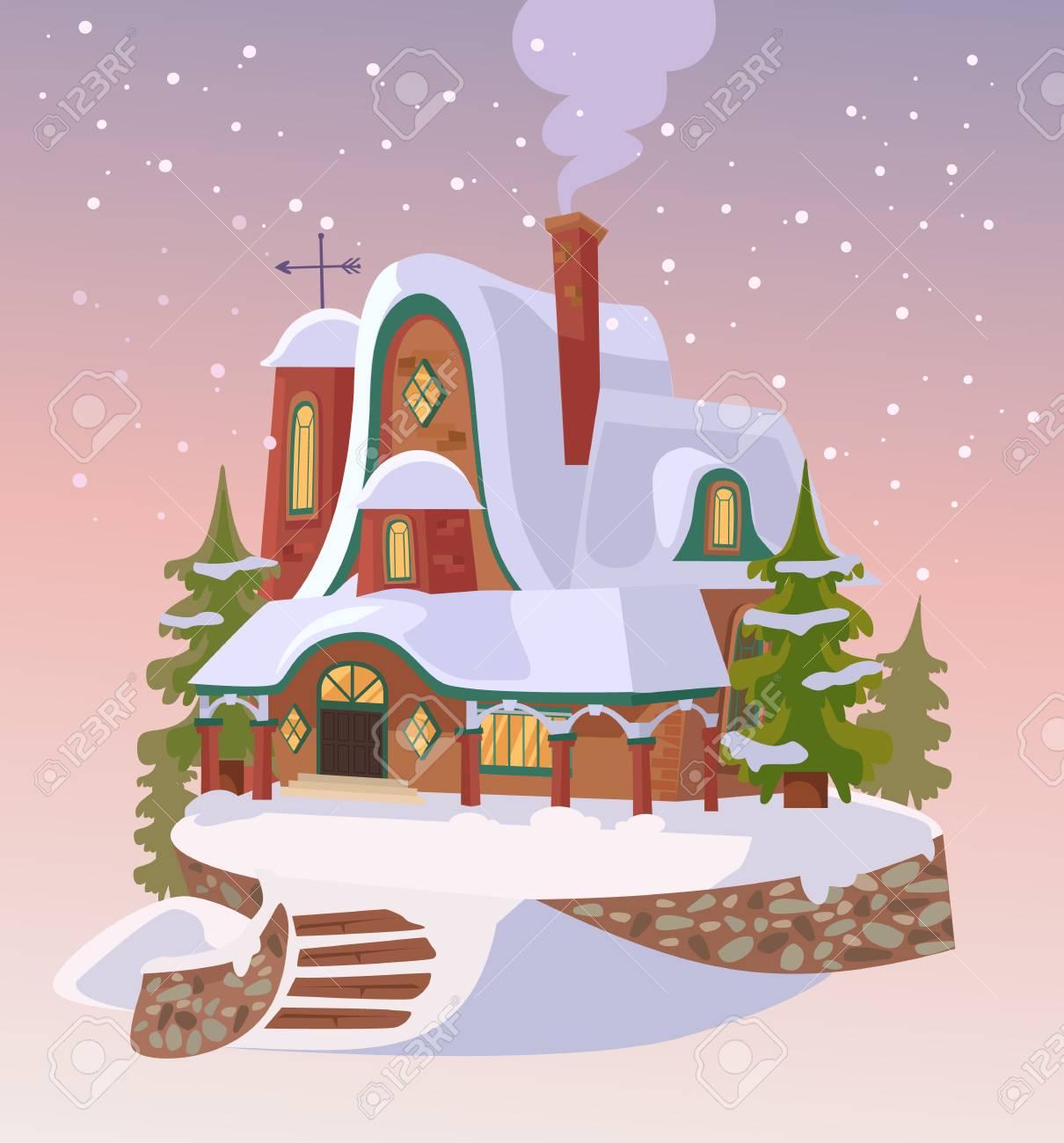 Banque dimages maison de santa bonne année chutes de neige de noël illustration de dessin animé plat
