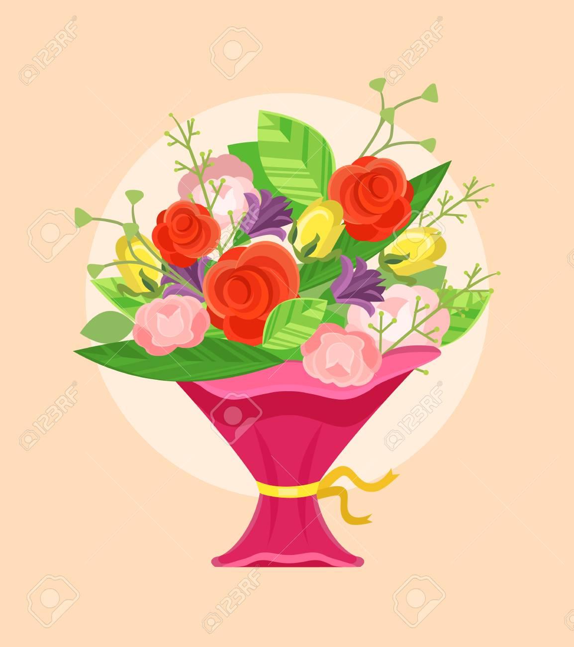 Bouquet Of Flowers Vector Flat Cartoon Illustration Royalty Free