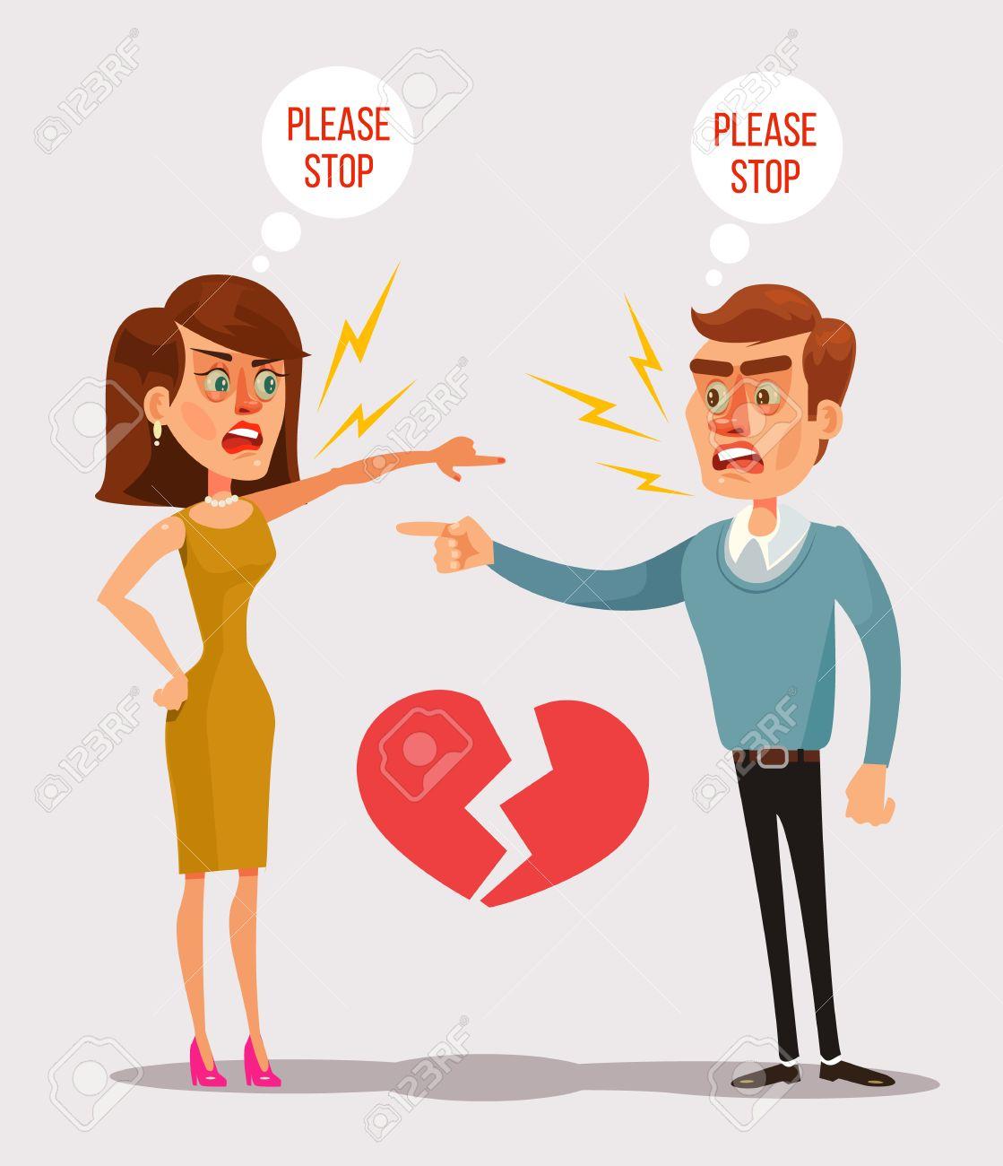 カップルの男と女の文字がけんか。ベクトル フラット漫画イラスト