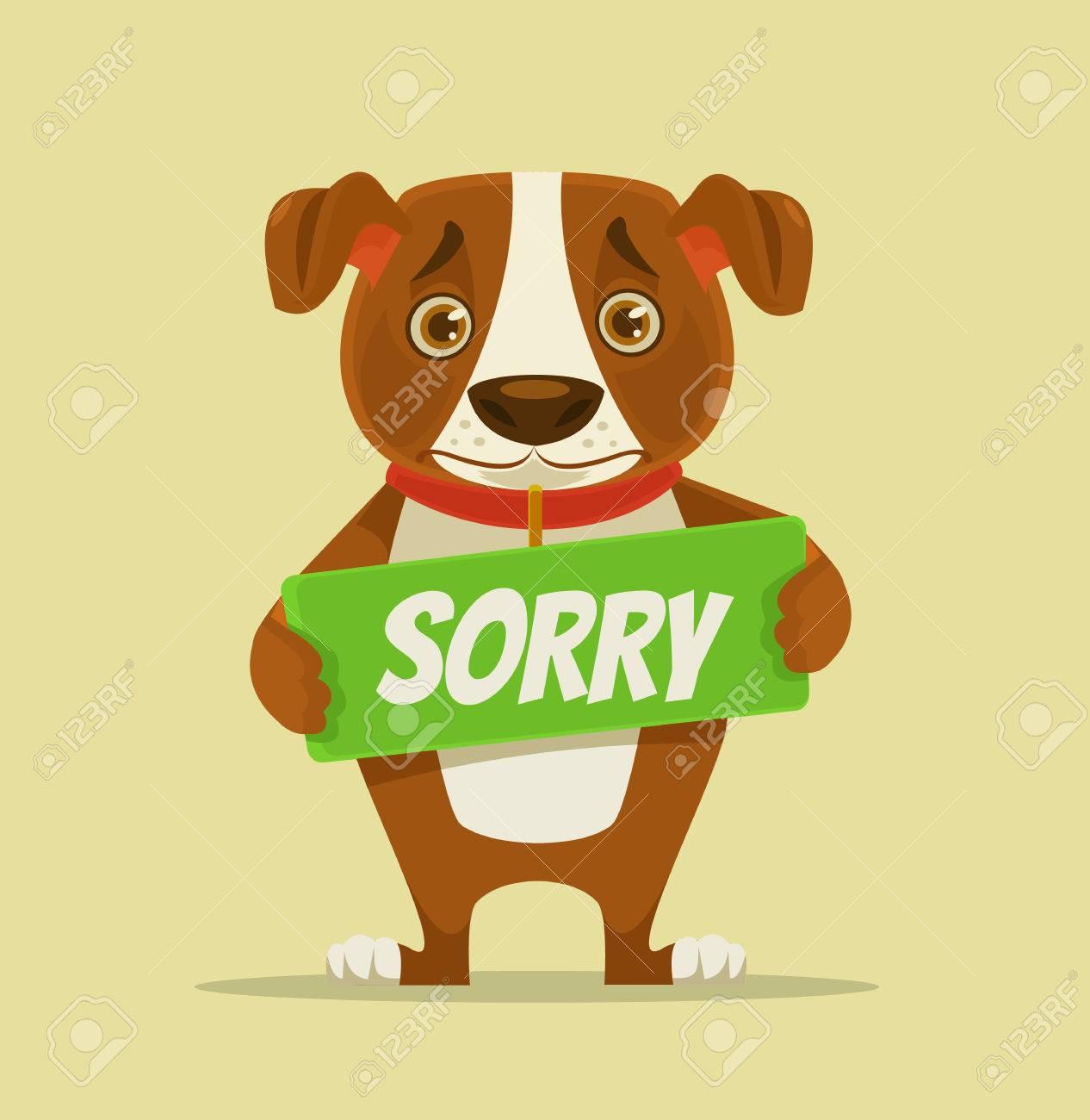 申し訳ありませんが犬文字謝罪板ベクトル フラット漫画イラストの