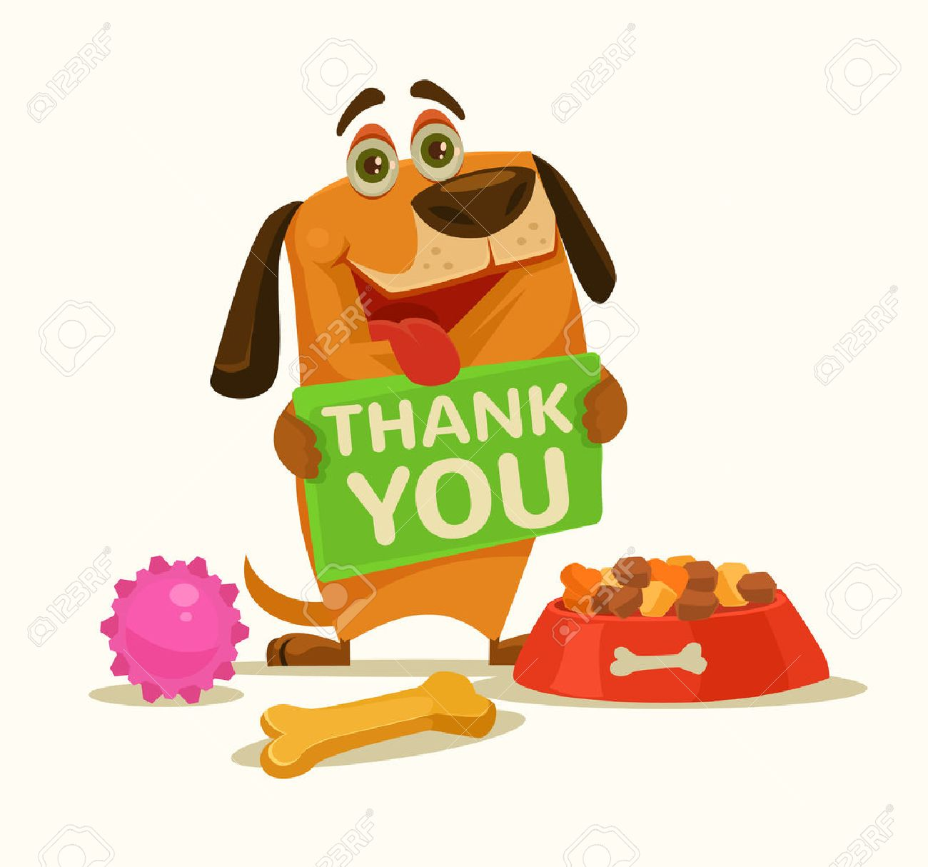 Happy dog ??character hold plate with thank you words. Vector flat cartoon illustration - 66662480