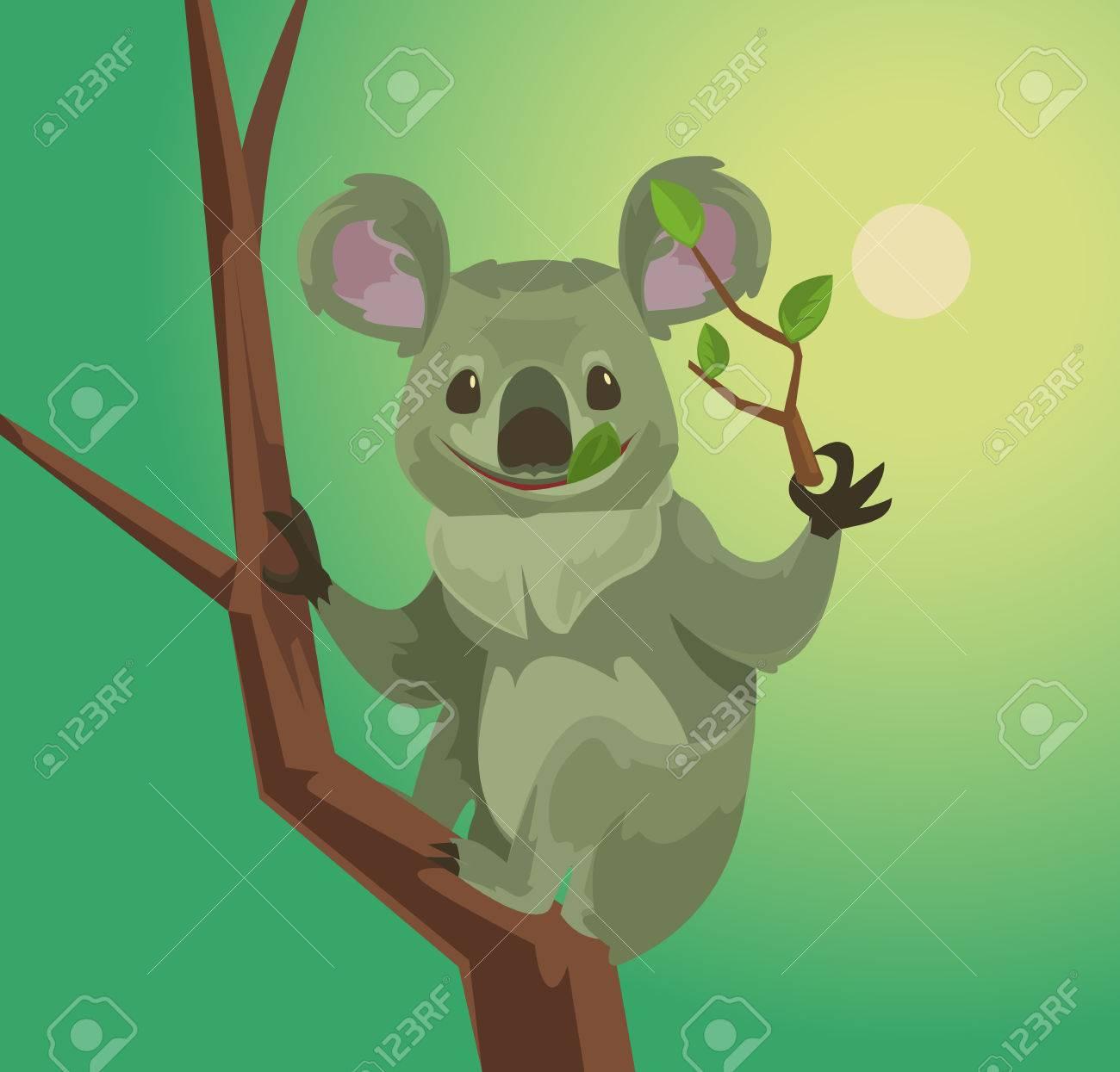 Netter Koala Charakter Eukalyptus Blatter Zu Essen Vector Flache