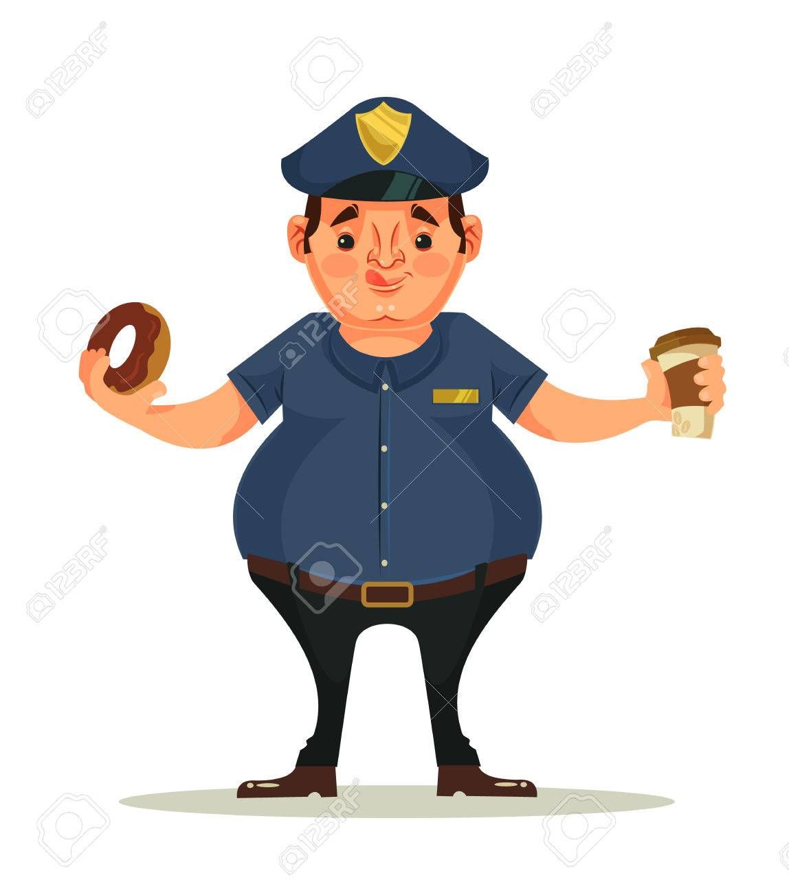 Fat Police Officer Character Eating Donuts And Drink Coffee