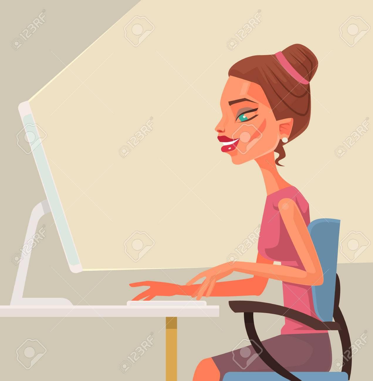 Geschäftsfrau Sekretärin Zeichen Auf Computer Eingeben Vector