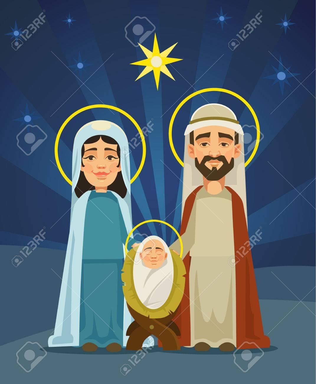 Imagenes Sagrada Familia Navidad.Escena De Navidad Sagrada Familia Nacimiento De Cristo Vector Ilustracion De Dibujos Animados Plana