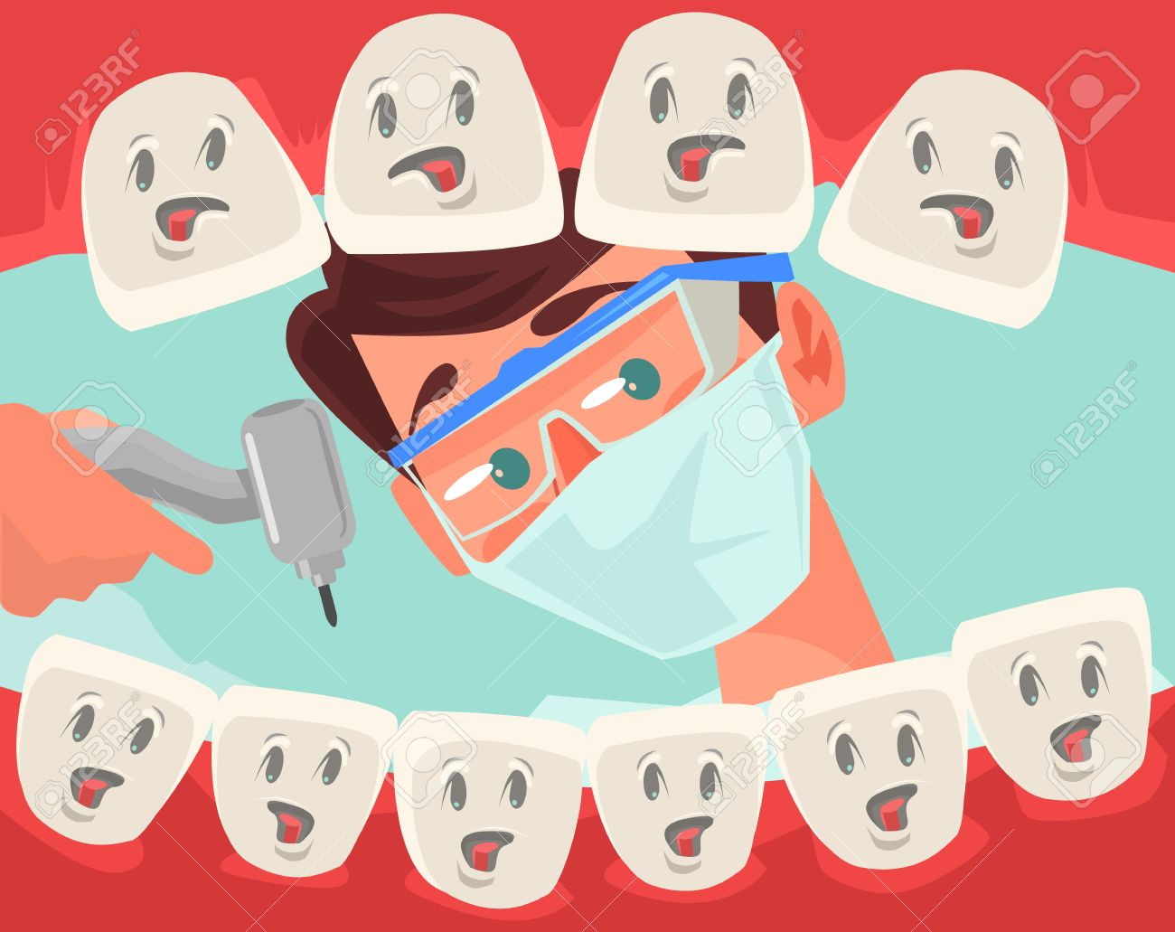 Dentist character looking into open mouth of patient. Vector flat cartoon illustration - 66662396