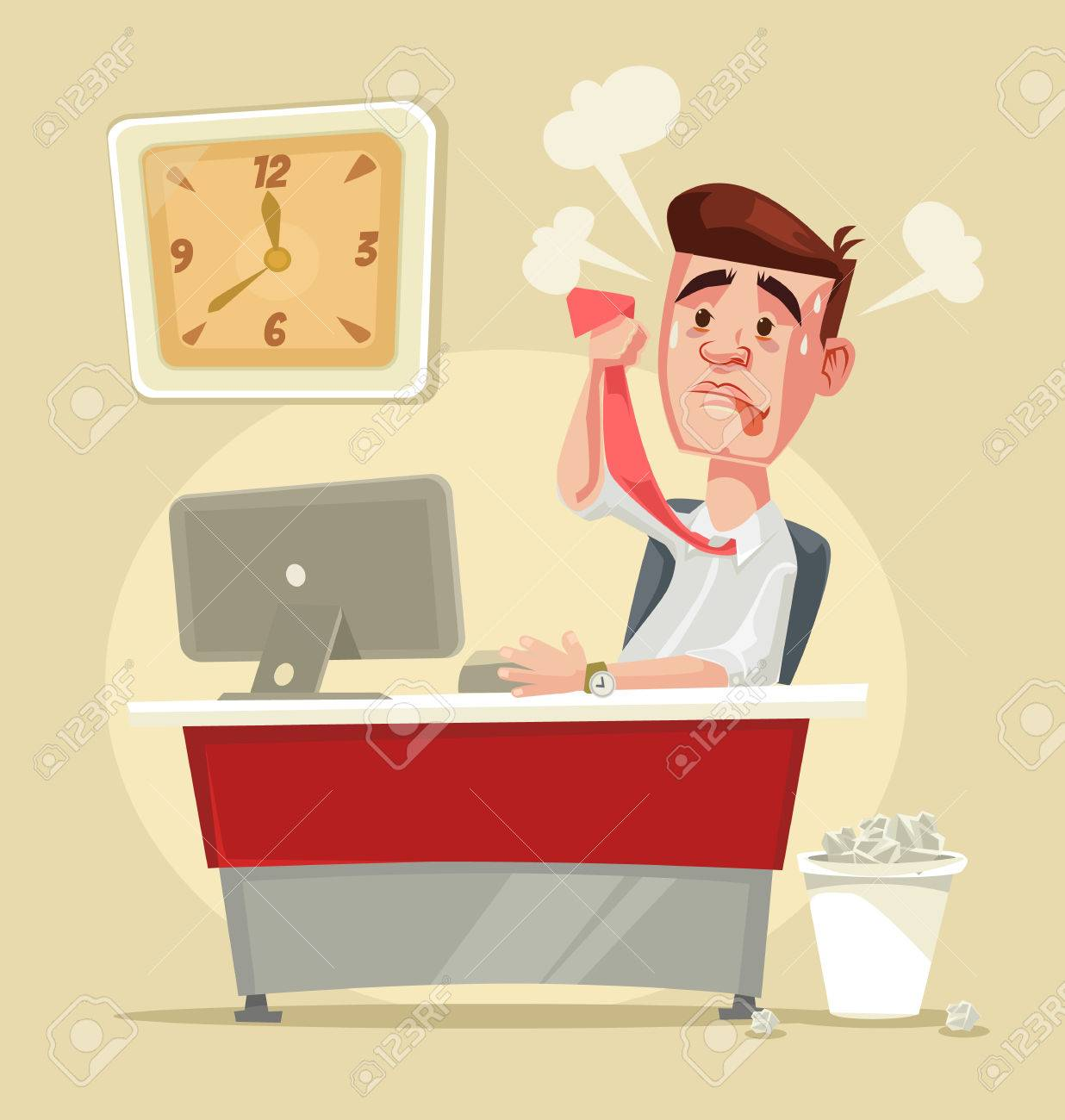 Busy stressful office worker character. Vector flat cartoon illustration - 66662358