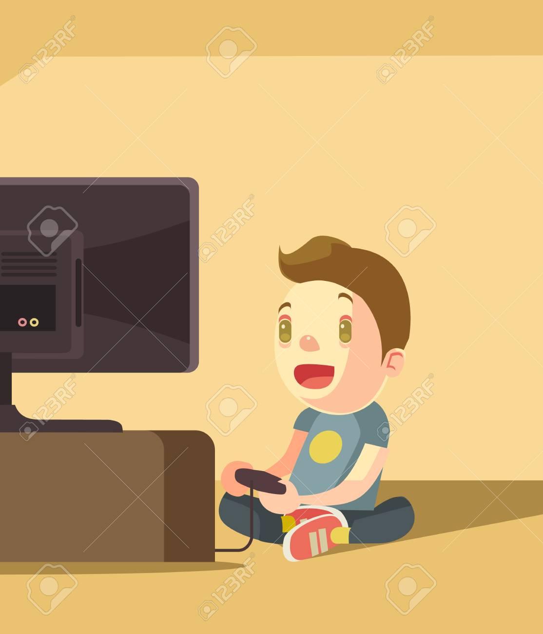 Pequeño Personaje De Niño Jugando Videojuegos Ilustración De