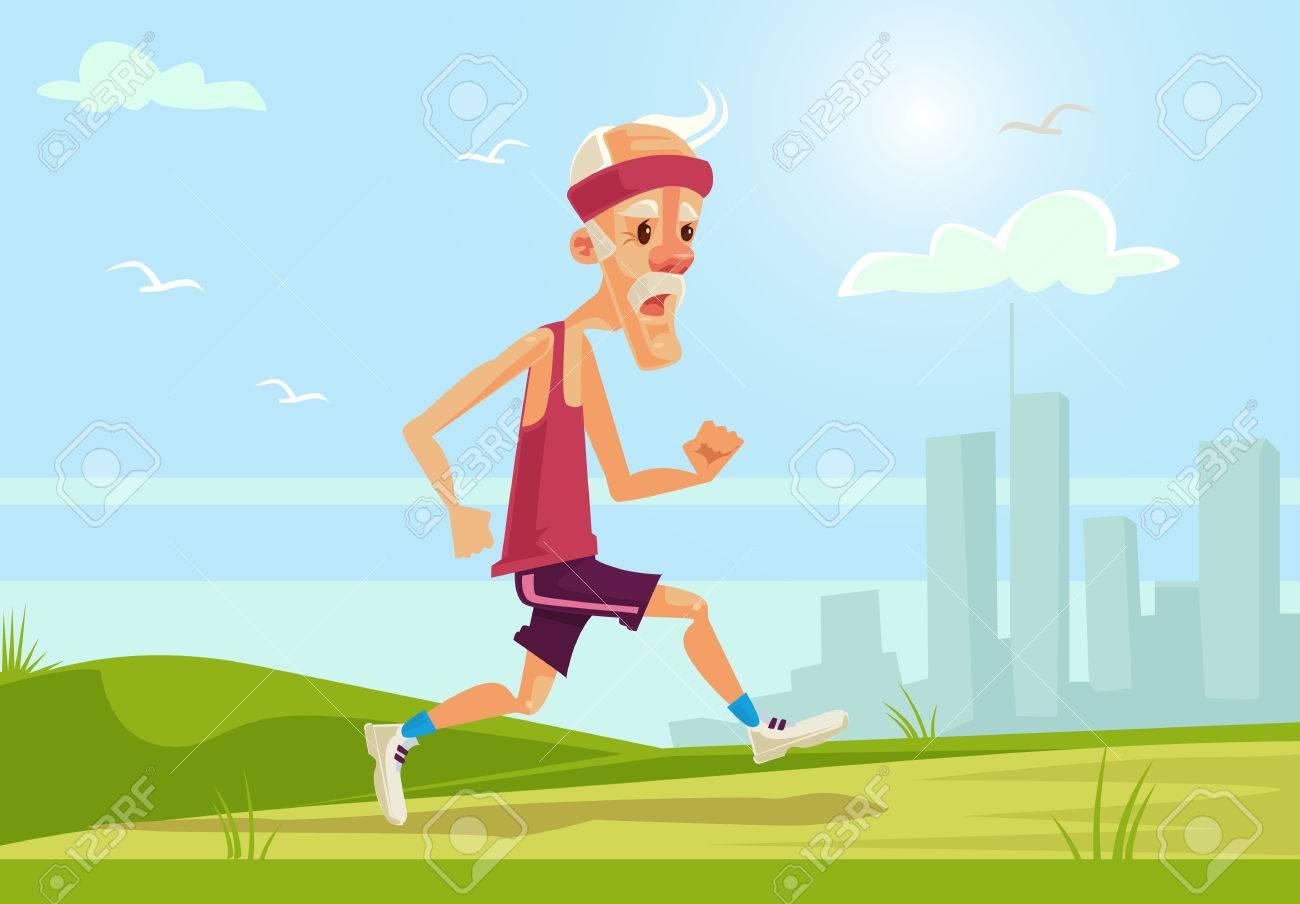Old sport man character running. Healthy lifestyle. flat cartoon illustration - 67601274