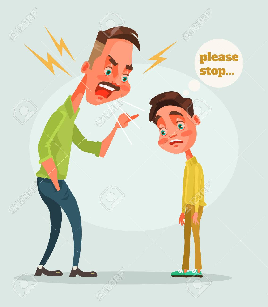 Father character scolds son. Vector flat cartoon illustration - 70665237