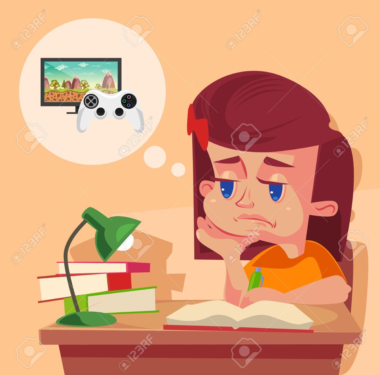 学校女の子子供キャラでは宿題はしたくないですベクトル フラット